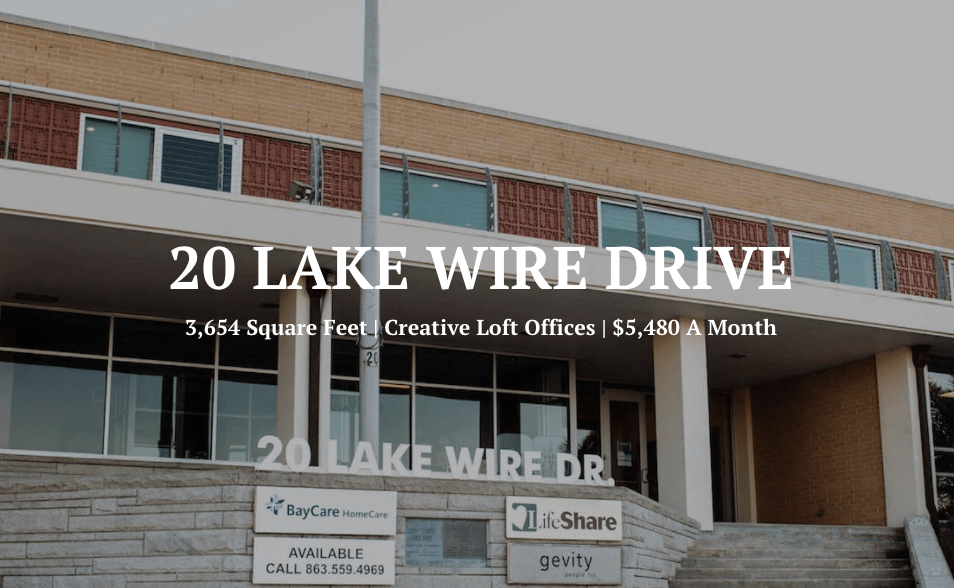 Space at 20 Lake Wire is Available